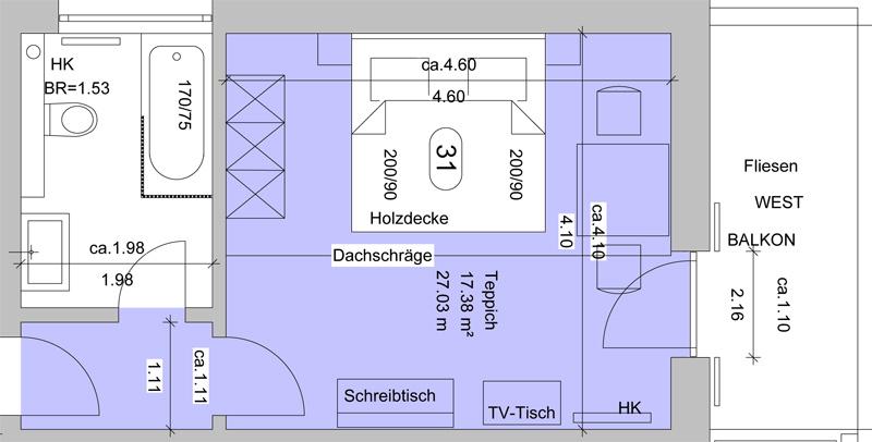 Hotel schwangau komfortzimmer mit seeblick und balkon for Hotel badezimmer grundriss